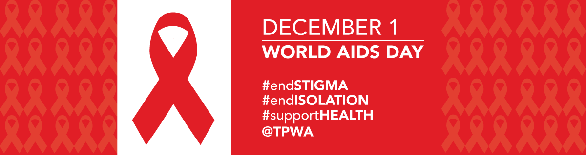 HIV AIDS Awareness Pin Month December Red Silver Ribbon with Lettering